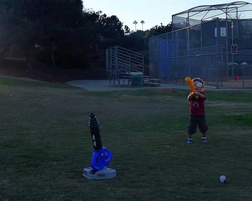 Toddler Playing Baseball